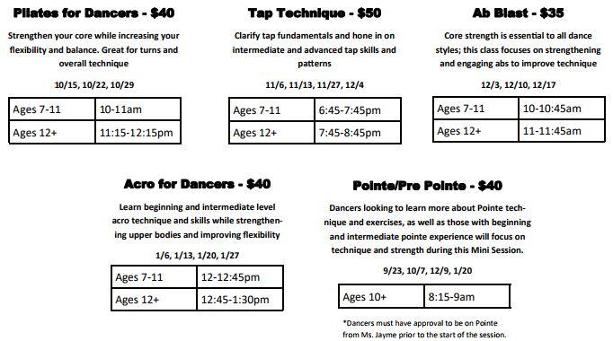 Mini Class Schedule