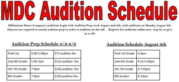 Audition Schedule